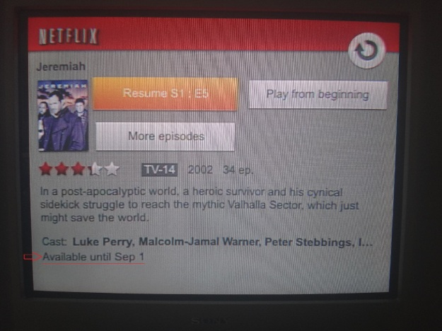 Screenshot of a Netflix on the Wii showing the 'Available Until' date for Jeremiah