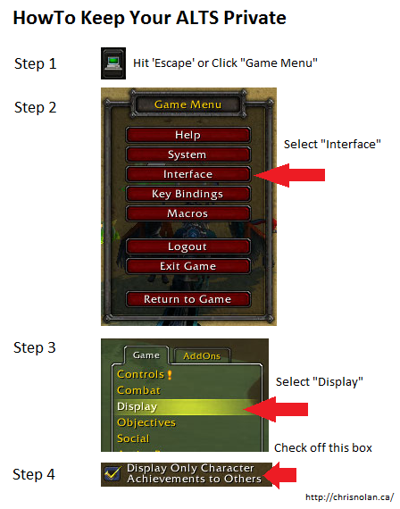 Step by step graphic on how to keep your world of warcraft alts private from the internet and other characters
