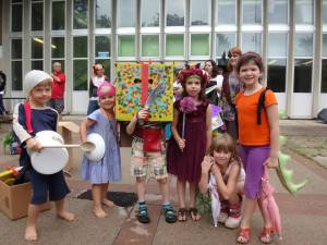 Group shot of some of the great kids and their great costumes for the Storymob.