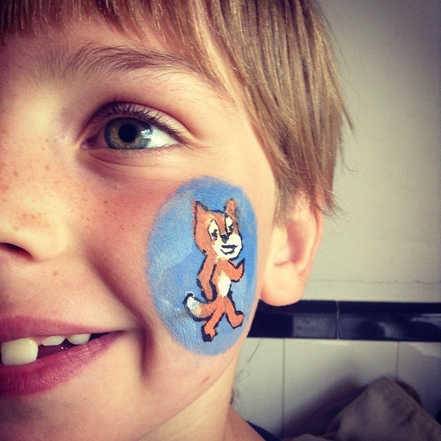 Facepainted 7 Year Old ready to lead his first Scratch Day